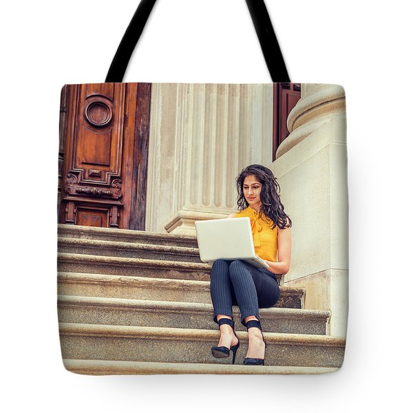 East Indian American College Student Studying In New York Tote Bag