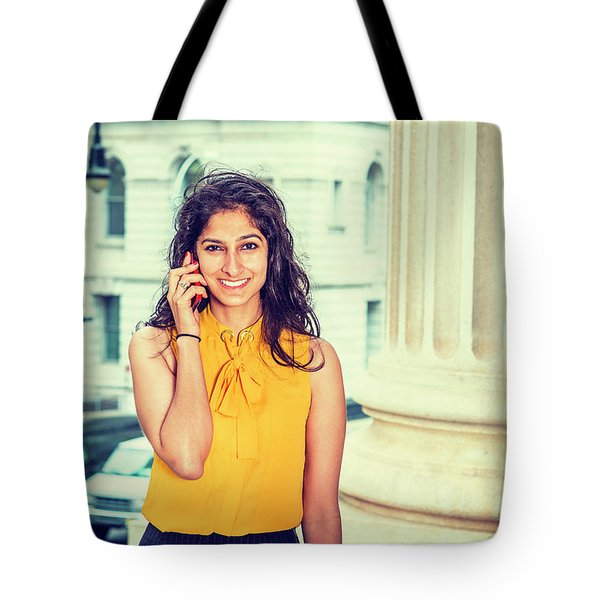East Indian Woman Calling Outside Tote Bag