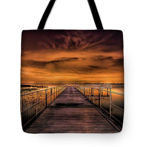 East Lake Pier Topaz Tote Bag