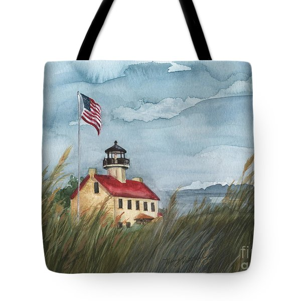 East Point Lighthouse Tote Bag by Nancy Patterson