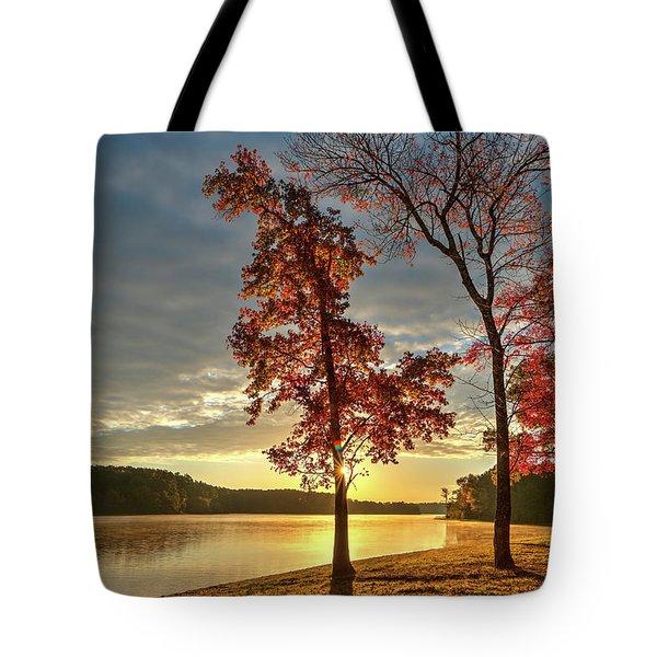 East Texas Autumn Sunrise At The Lake Tote Bag