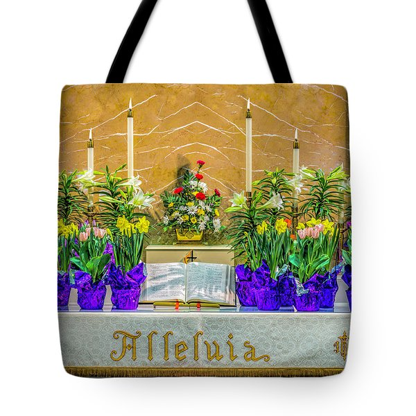 Tote Bag featuring the photograph Easter Alter And Flowers by Nick Zelinsky