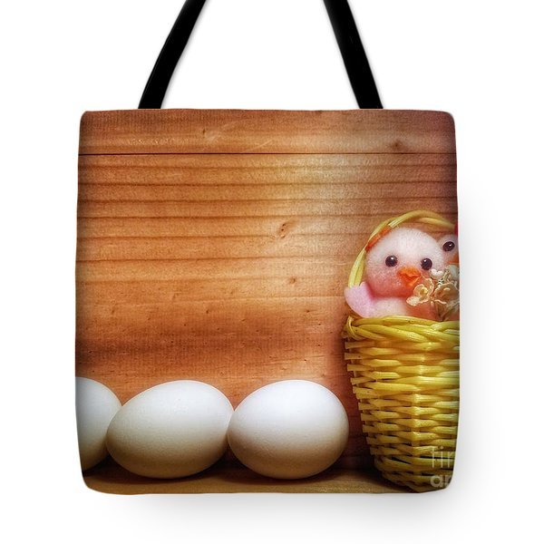 Easter Basket Of Pink Chicks With Eggs Tote Bag