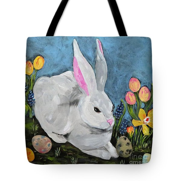 Tote Bag featuring the painting Easter Bunny  by Reina Resto