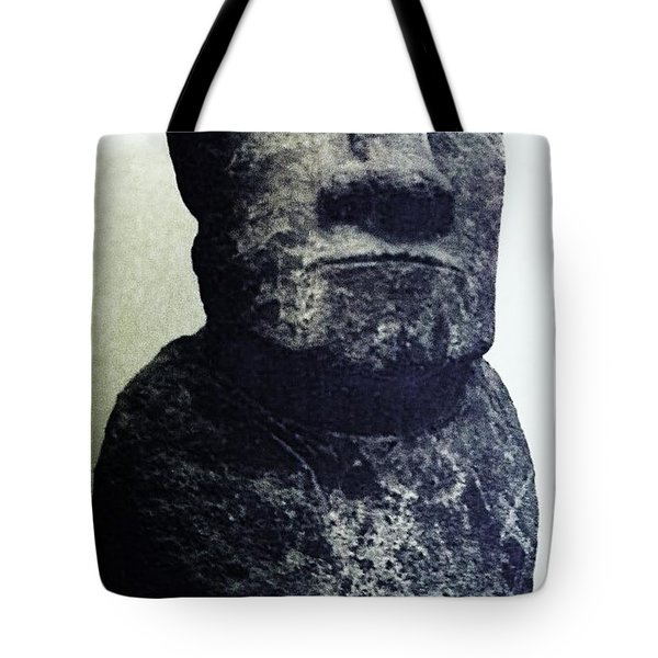 Tote Bag featuring the painting Easter Island Stone Statue by Eric  Schiabor