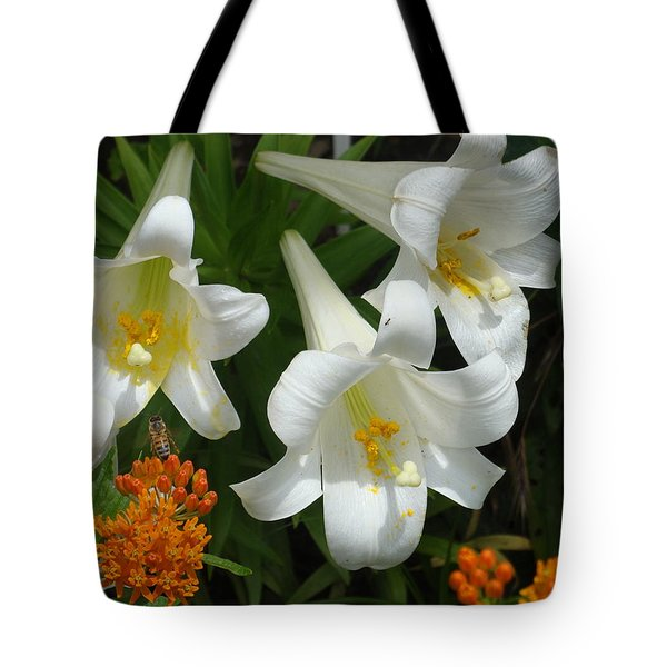 Easter Lilies And Butterfly Weed Tote Bag
