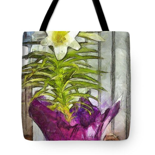 Easter Lily And Doll Tote Bag