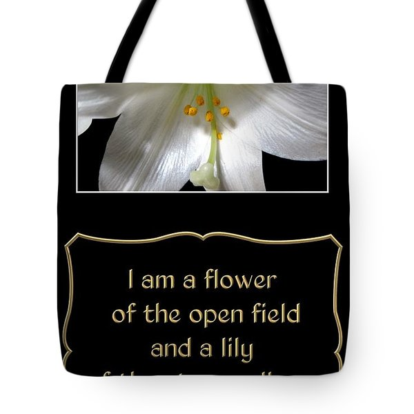 Easter Lily With Song Of Songs Quote Tote Bag