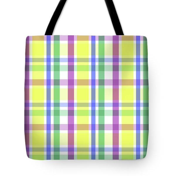 Tote Bag featuring the digital art Easter Pastel Plaid Striped Pattern by Shelley Neff