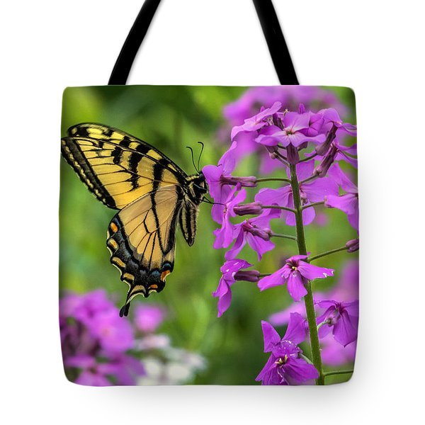 Easter Tiger Swallowtail Amongst Wildflowers Tote Bag by Darleen Stry
