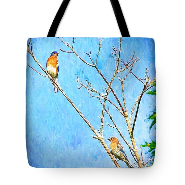 Eastern Bluebird Couple Tote Bag