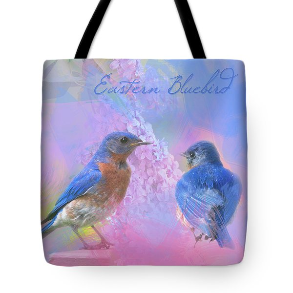 Tote Bag featuring the photograph Eastern Bluebirds Watercolor Photo by Heidi Hermes