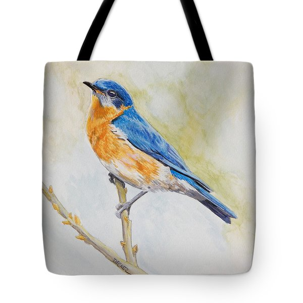 Tote Bag featuring the painting Eastern Mountain Bluebird by Robert Decker