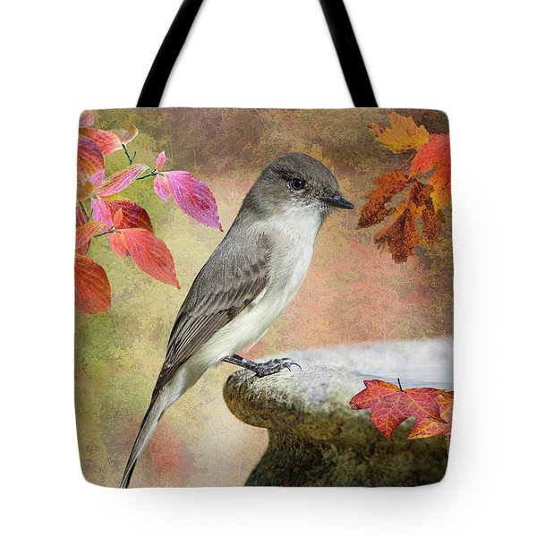 Tote Bag featuring the photograph Eastern Phoebe In Autumn by Bonnie Barry