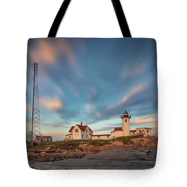 Eastern Point Lighthouse At Sunset Tote Bag