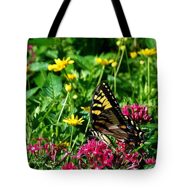 Tote Bag featuring the photograph Eastern Tiger Swallowtail 000 by Chris Mercer