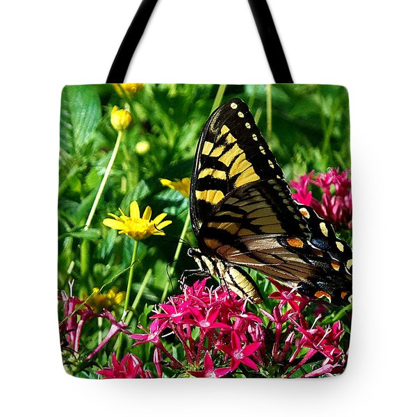 Tote Bag featuring the photograph Eastern Tiger Swallowtail 001 by Chris Mercer