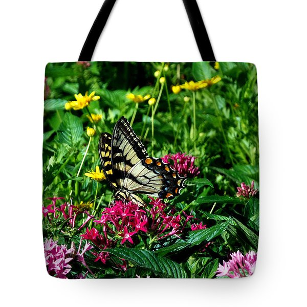 Tote Bag featuring the photograph Eastern Tiger Swallowtail 002 by Chris Mercer