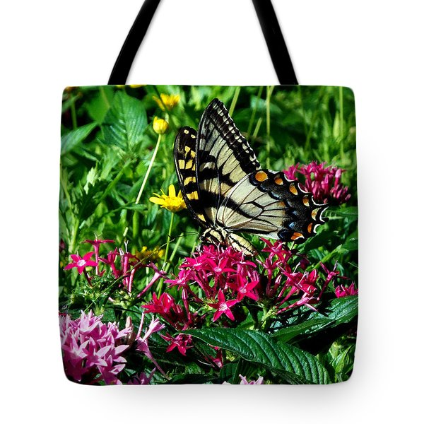 Tote Bag featuring the photograph Eastern Tiger Swallowtail 003 by Chris Mercer