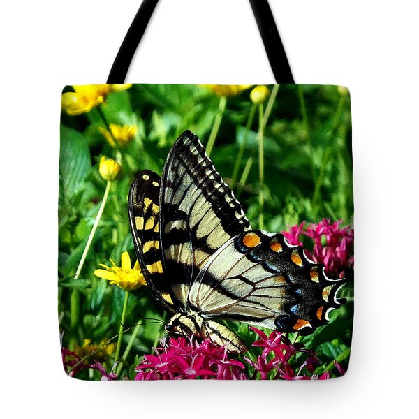 Tote Bag featuring the photograph Eastern Tiger Swallowtail 004 by Chris Mercer