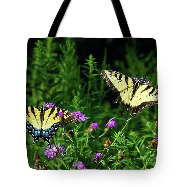 Tote Bag featuring the photograph Eastern Tiger Swallowtail Butterfly - Female And Male  by Kerri Farley
