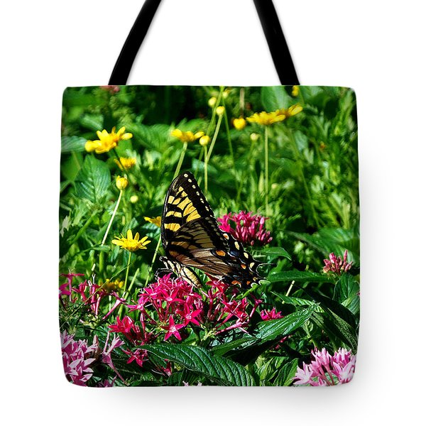 Tote Bag featuring the photograph Eastern Tiger Swallowtail  by Chris Mercer
