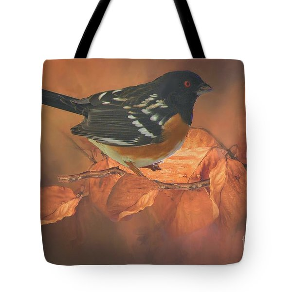Spotted Towhee In Autumn Tote Bag