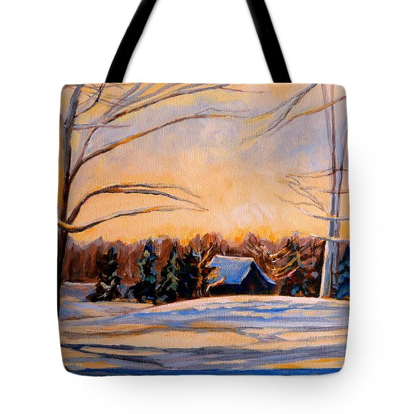 Eastern Townships In Winter Tote Bag by Carole Spandau