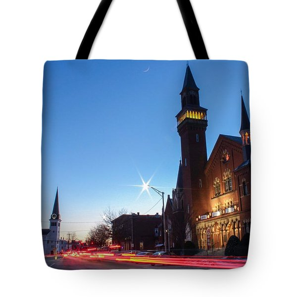 Tote Bag featuring the photograph Easthampton Crescent Moon by Sven Kielhorn