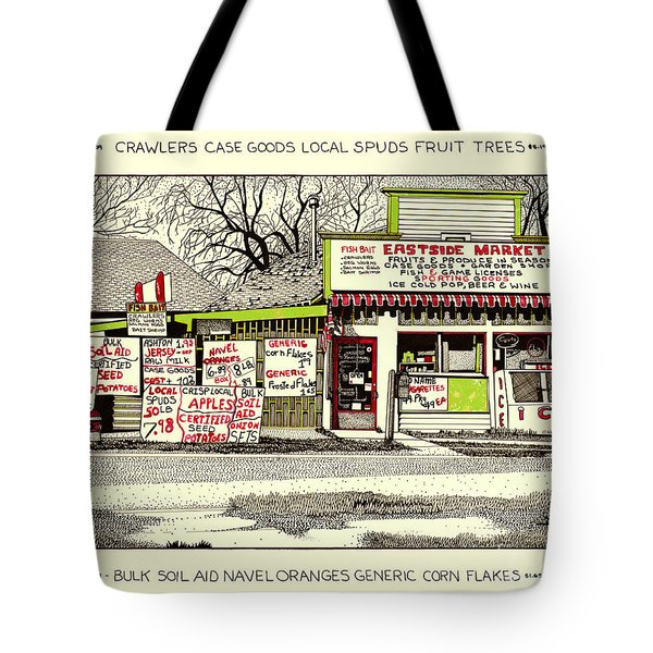 Tote Bag featuring the painting Eastside Market by Chholing Taha