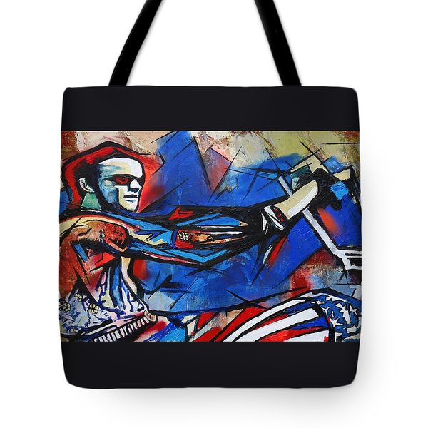 Tote Bag featuring the painting Easy Rider Captain America by Eric Dee