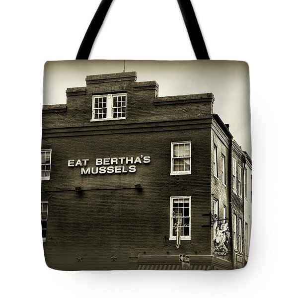 Tote Bag featuring the photograph Eat Berthas Mussels In Black And White by Paul Ward
