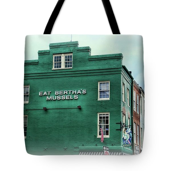 Tote Bag featuring the photograph Eat Berthas Mussels  by Paul Ward