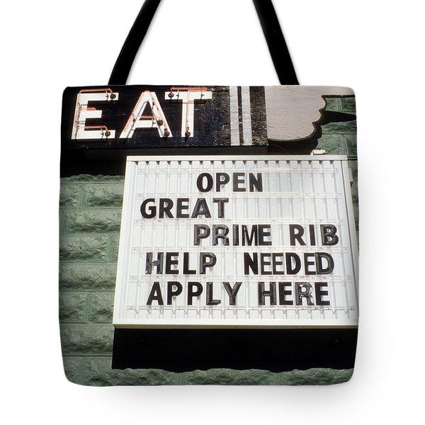 Eat Sign Tote Bag