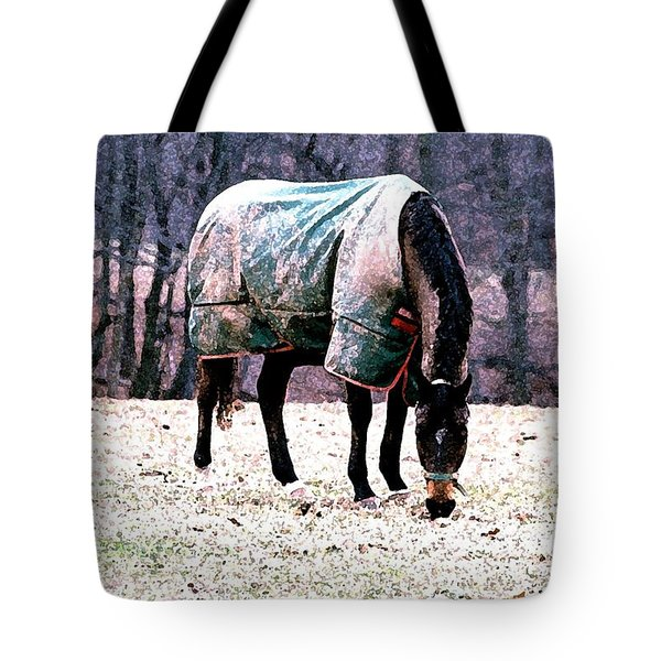 Tote Bag featuring the photograph Eatin' Snowy Grass by Polly Peacock