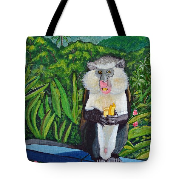 Tote Bag featuring the painting Eating A Banana by Laura Forde