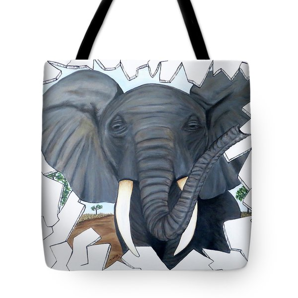 Tote Bag featuring the painting Eavesdropping Elephant by Teresa Wing
