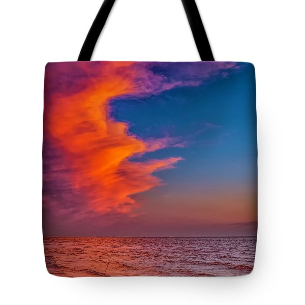 Tote Bag featuring the photograph Evening Fishing On The Beach by Nick Zelinsky
