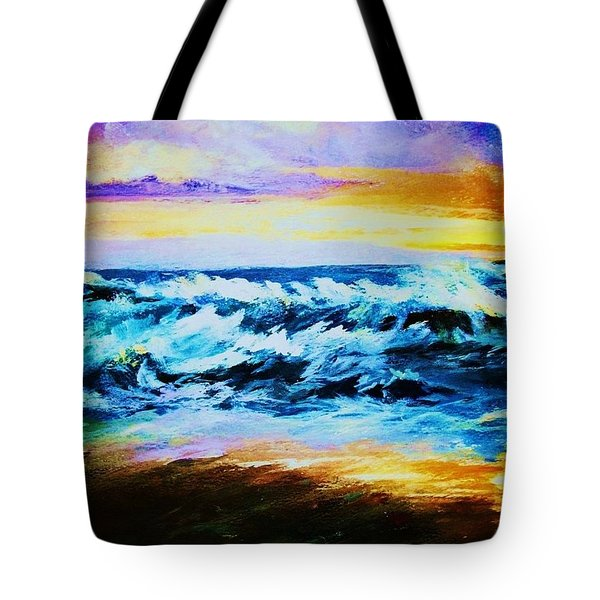 Tote Bag featuring the painting Ebb Tide At Sunset by Al Brown