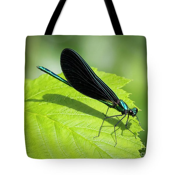 Tote Bag featuring the photograph Ebony Jewelwing by Ricky L Jones