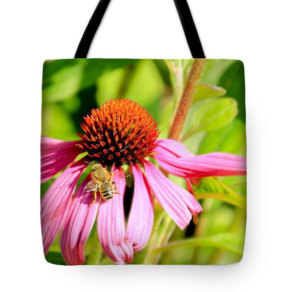 Echinacea Bee Tote Bag