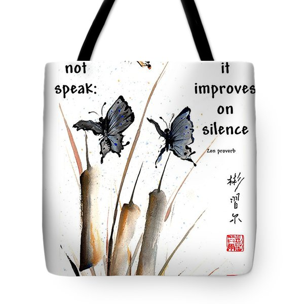 Echo Of Silence With Zen Proverb Tote Bag