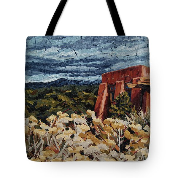 Tote Bag featuring the painting Echoes Of Tularosa, Museum Hill, Santa Fe, Nm by Erin Fickert-Rowland