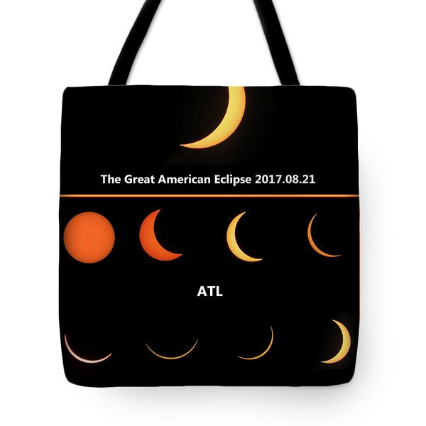 Tote Bag featuring the digital art eclipse 2017 ATL by Kathleen Illes