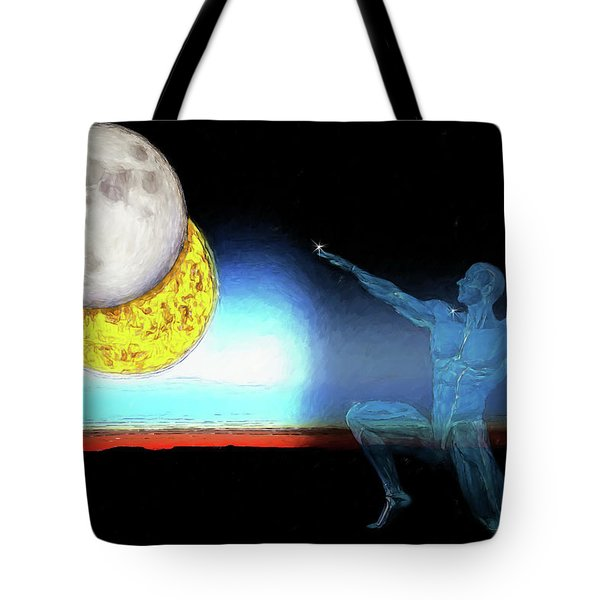 Tote Bag featuring the digital art Eclipse 2017 by John Haldane