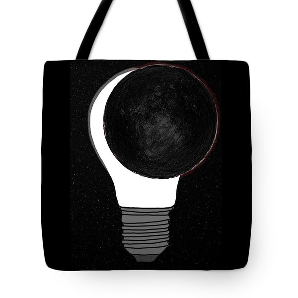 Tote Bag featuring the drawing Eclipse by John Haldane