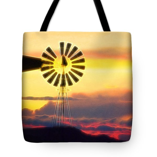 Eclipse Windmill In The Sunset Clouds Tote Bag