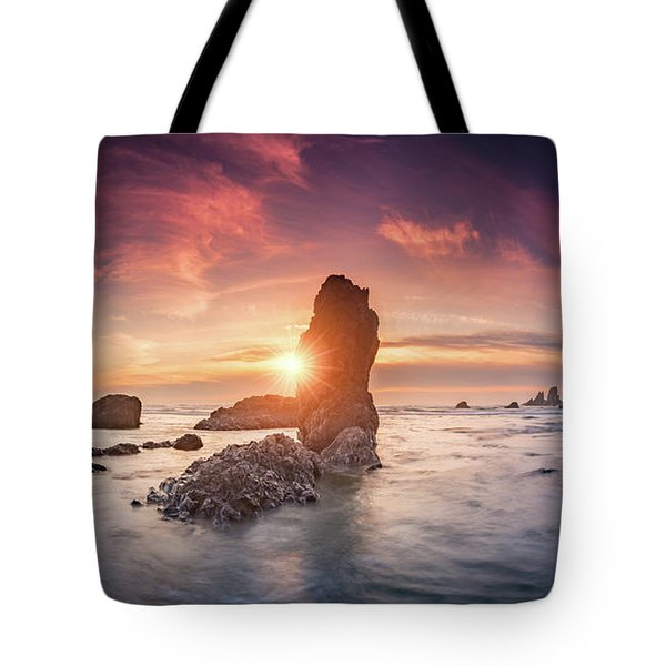 Tote Bag featuring the photograph Ecola State Park Beach Sunset Pano by William Lee