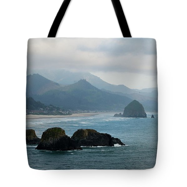 Ecola State Park View Of Haystack Rock And 3 Arch Rocks Tote Bag