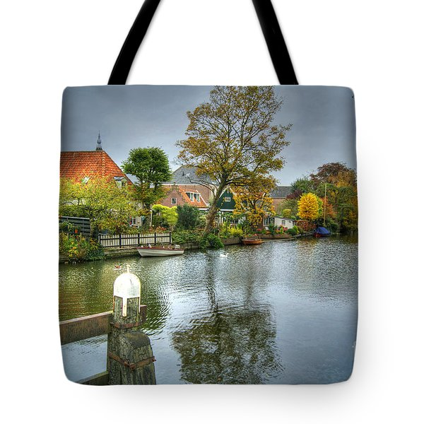 Tote Bag featuring the photograph Edam Waterway In Holland by David Birchall